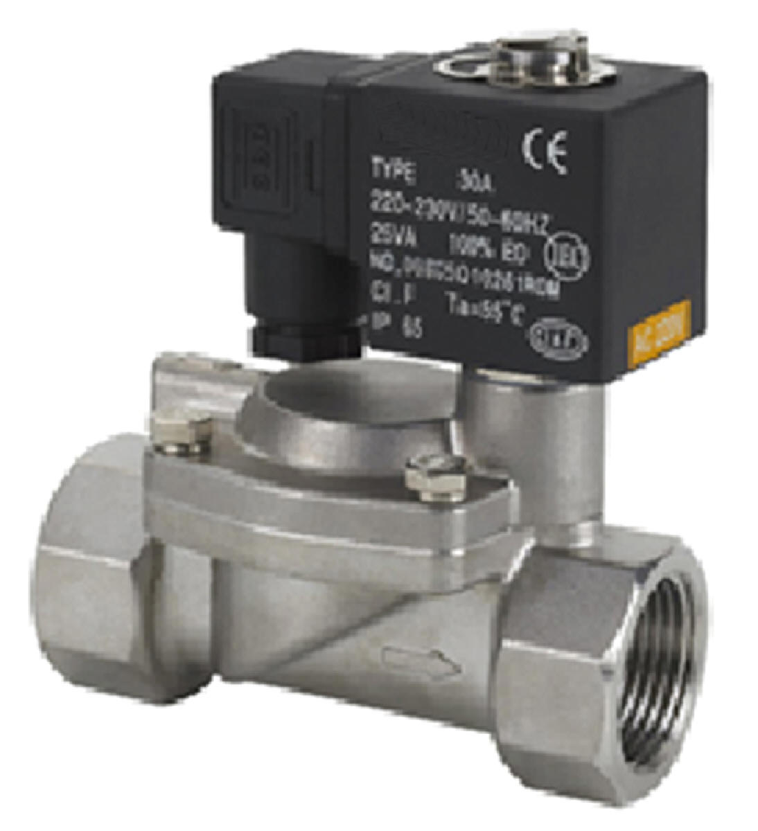 1//2 Inch High Pressure Stainless Steel Steam Solenoid Process Valve 220V AC PTFE